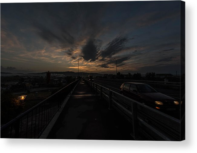 Abstract Acrylic Print featuring the photograph Bridge To The City In The Morning by Adrian Bud