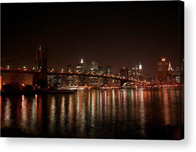Brooklyn Bridge Acrylic Print featuring the photograph Brooklyn Bridge at Night by Jason Hochman