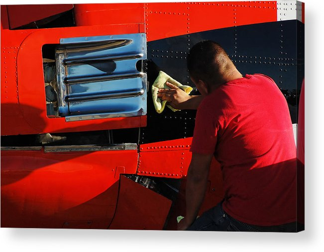 Darin Volpe Aerospace Acrylic Print featuring the photograph Elbow Grease -- North American T-28b Trojan At Estrella Warbirds Museum, Paso Robles, California by Darin Volpe