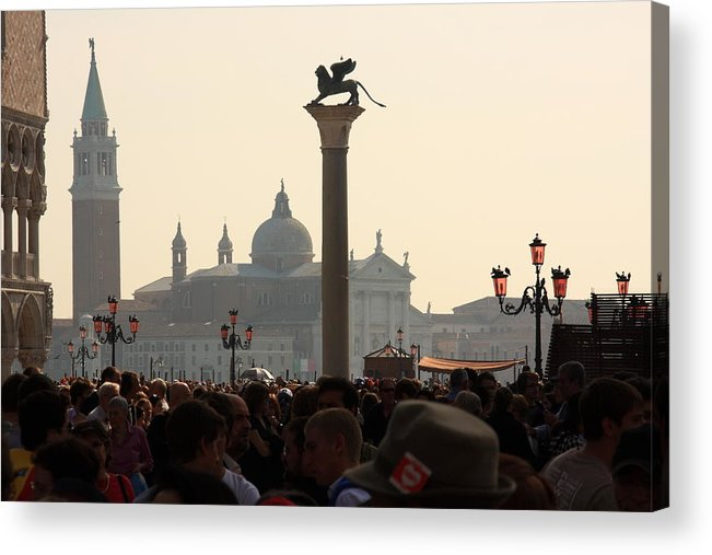 Venice Acrylic Print featuring the photograph Busy Day at St. Mark's Square by Michael Henderson