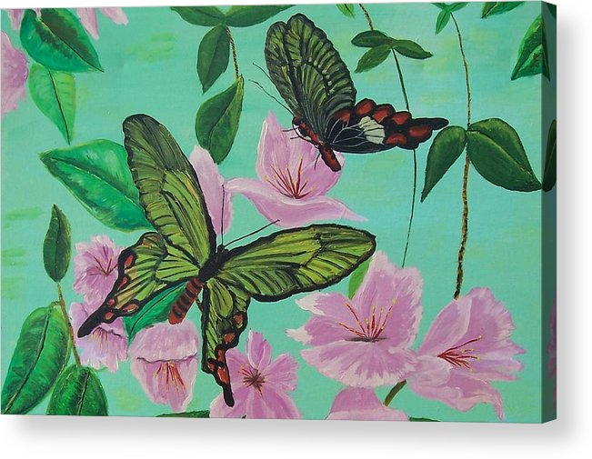 Butterfly Acrylic Print featuring the painting Butterflies In Flight by Martha Mullins