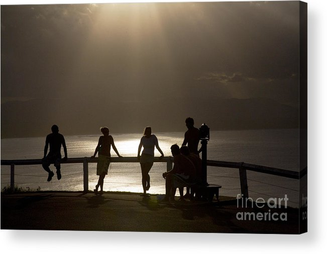 Byron Bay Lighthouse Silhouette Sunset Rays Acrylic Print featuring the photograph Byron Bay lighthouse by Sheila Smart Fine Art Photography