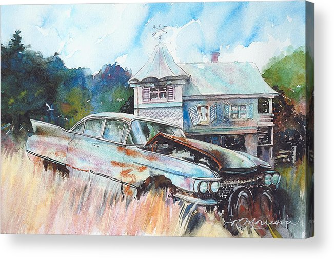 Cadillac Acrylic Print featuring the painting Caddy Sliding Down the Slope by Ron Morrison