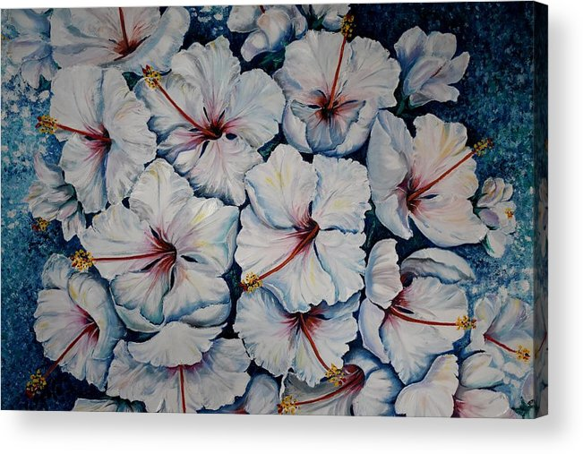 White Hibiscus Acrylic Print featuring the painting Caribbean Hibiscus by Karin Dawn Kelshall- Best