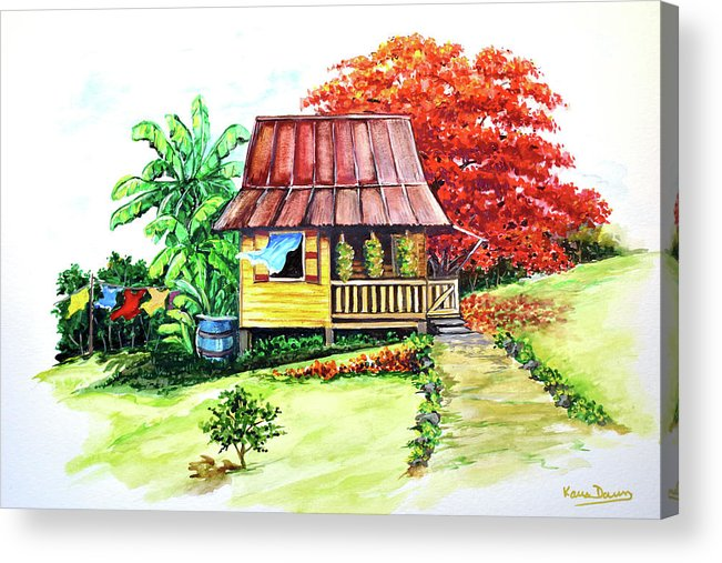 Old House Acrylic Print featuring the painting Caribbean House On The Hill by Karin Dawn Kelshall- Best