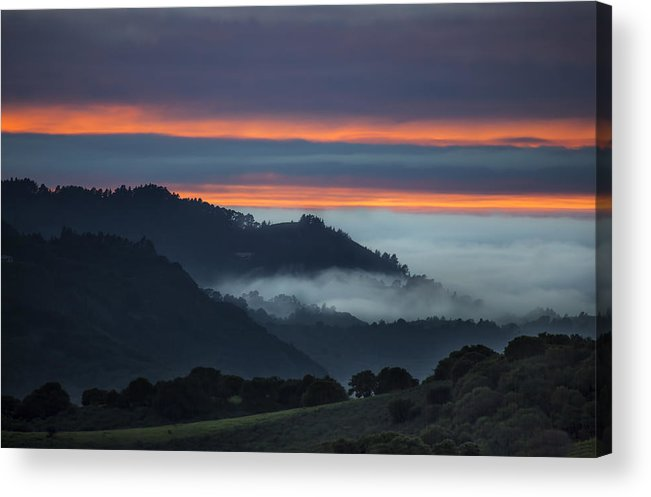 Fog Acrylic Print featuring the photograph Carmel Valley Sunset by Michael Just