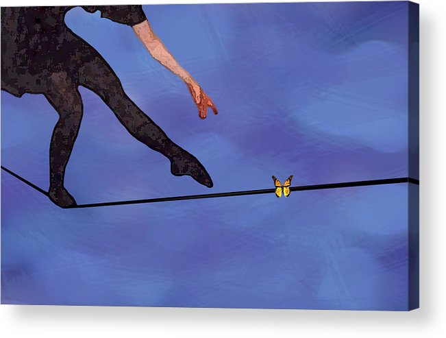 Surreal Acrylic Print featuring the painting Catching Butterflies by Steve Karol