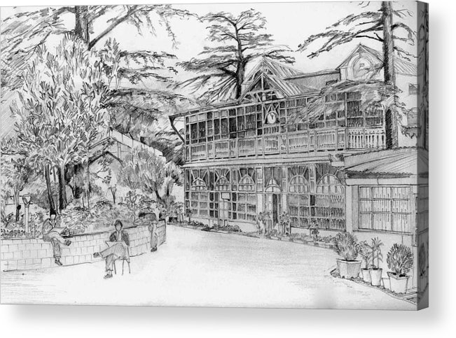 Landscape Acrylic Print featuring the drawing Charleville by Padamvir Singh