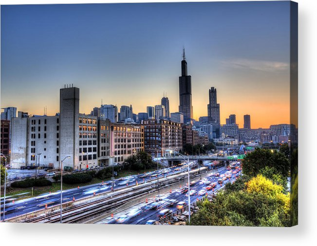 Chicago Acrylic Print featuring the photograph Chicago Sunrise Rush Hour by Shawn Everhart