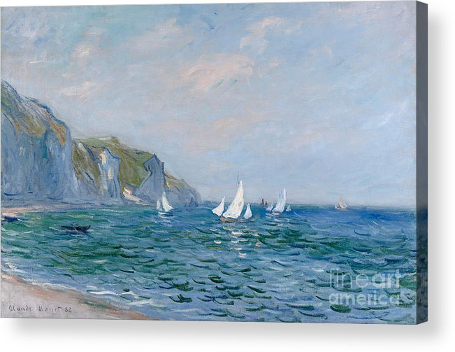 Cliffs And Sailboats At Pourville Acrylic Print featuring the painting Cliffs and Sailboats at Pourville by Claude Monet
