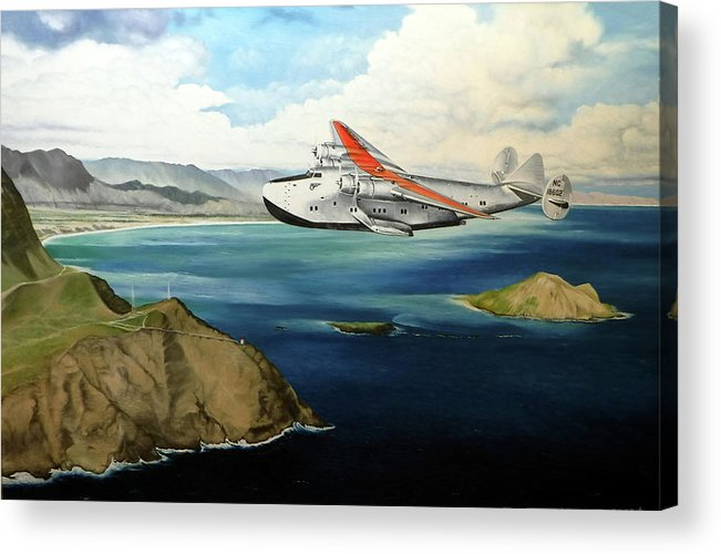 Clipper Acrylic Print featuring the painting Clipper at the Makapu'u Light by Marcus Stewart