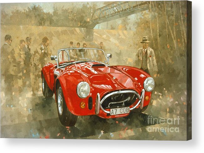 Sports Car; Race Car; Vehicle; Racing; Driver; Track; Racetrack; Race Track; Vintage; Racer; Red; Cobra; Brooklands; Old Timer Acrylic Print featuring the painting Cobra at Brooklands by Peter Miller
