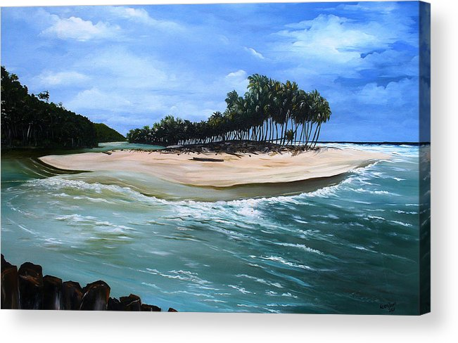 Ocean Paintings Sea Scape Paintings  Beach Paintings Palm Trees Paintings Water Paintings River Paintings  Caribbean Paintings  Tropical Paintings Trinidad And Tobago Paintings Beach Paintings Acrylic Print featuring the painting Cocos Bay Trinidad by Karin Dawn Kelshall- Best
