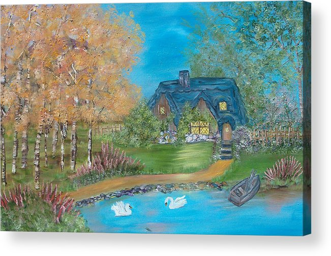 Cottage Acrylic Print featuring the painting Country Cottage by Mikki Alhart