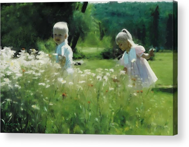 Daisy Acrylic Print featuring the digital art Daisy Field of Innocents by Elzire S
