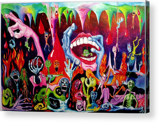 Hell Acrylic Print featuring the painting Damnation Of The Evil by Nancy Mueller