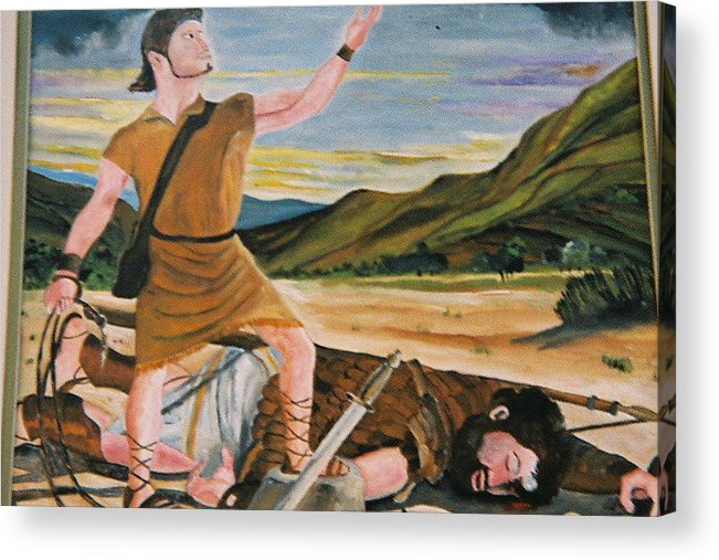 Biblical Acrylic Print featuring the painting David and Goliath by Desenclos Patrick