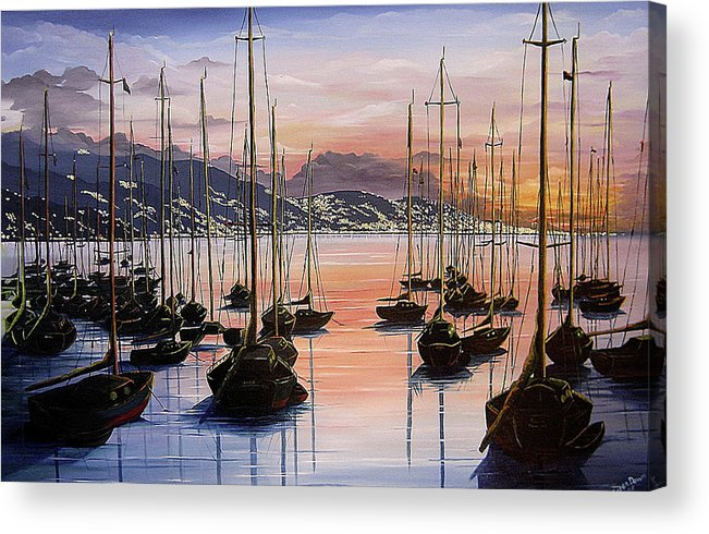 Seascape Painting Yacht Painting Harbour Painting Port Of Spain Trinidad And Tobago Painting Caribbean Painting Tropical Seascape Yachts  Painting Boats Dawn Breaking Greeting Card Painting Acrylic Print featuring the painting Daybreak by Karin Dawn Kelshall- Best