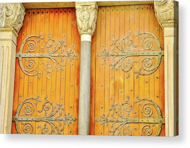 St. Tropheme Church In Arles Acrylic Print featuring the photograph Doorway Detail at St. Tropheme Church in Arles by Kirsten Giving