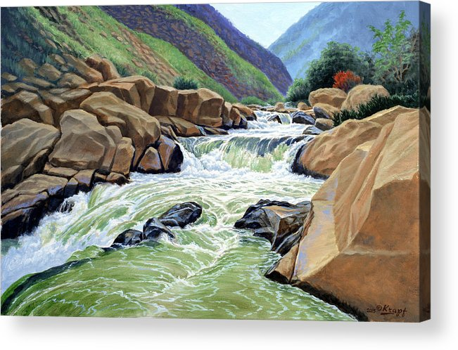 Mountain Stream Acrylic Print featuring the painting Eastern Sierra Stream by Paul Krapf