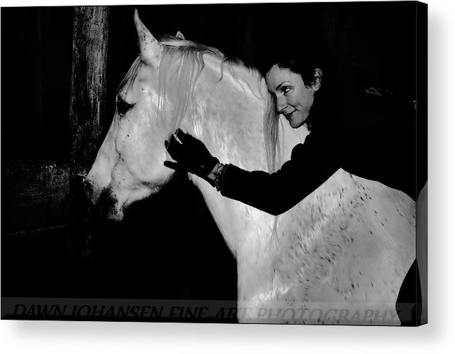 White Horse Acrylic Print featuring the digital art Erin and Mikey by Dawn Johansen