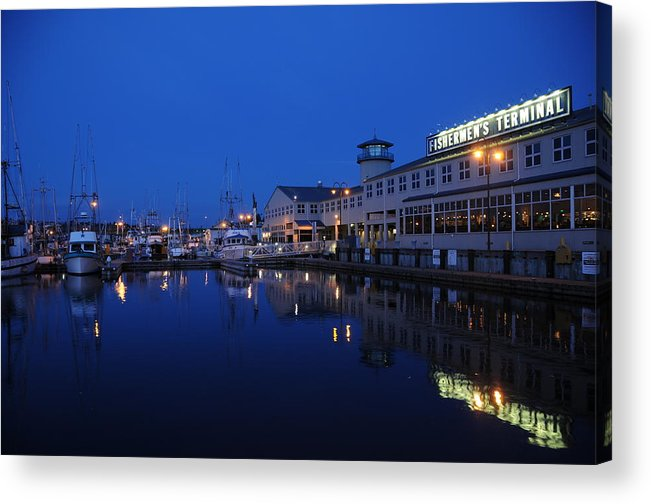 Fishing Acrylic Print featuring the photograph Fishermens Terminal in Seattle by Alasdair Turner