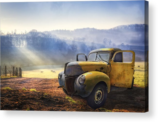 Appalachia Acrylic Print featuring the photograph Ford in the Fog by Debra and Dave Vanderlaan