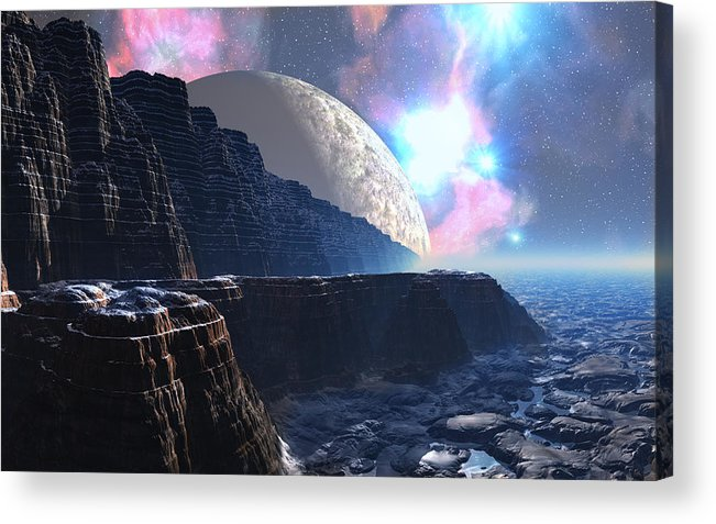David Jackson Fortress Of Nimmbl Alien Landscape Planets Scifi Acrylic Print featuring the digital art Fortress of Nimmbl by David Jackson