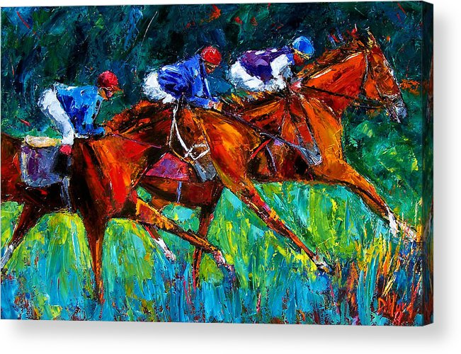 Horse Race Acrylic Print featuring the painting Full Speed by Debra Hurd