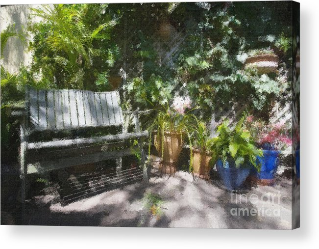 Garden Bench Flowers Impressionism Acrylic Print featuring the photograph Garden bench by Sheila Smart Fine Art Photography