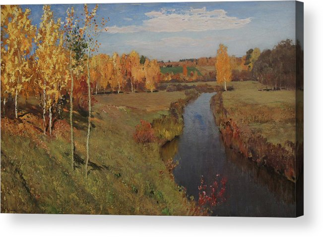 Isaac Levitan Acrylic Print featuring the painting Golden Autumn by Isaac Levitan