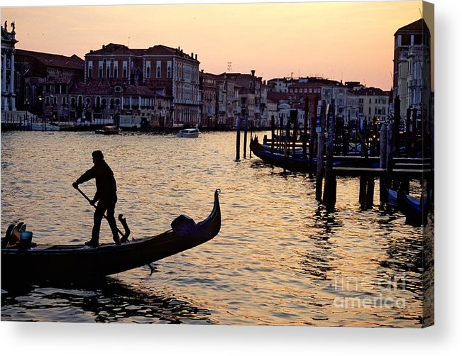 Venice Acrylic Print featuring the photograph Gondolier In Venice In Silhouette by Michael Henderson