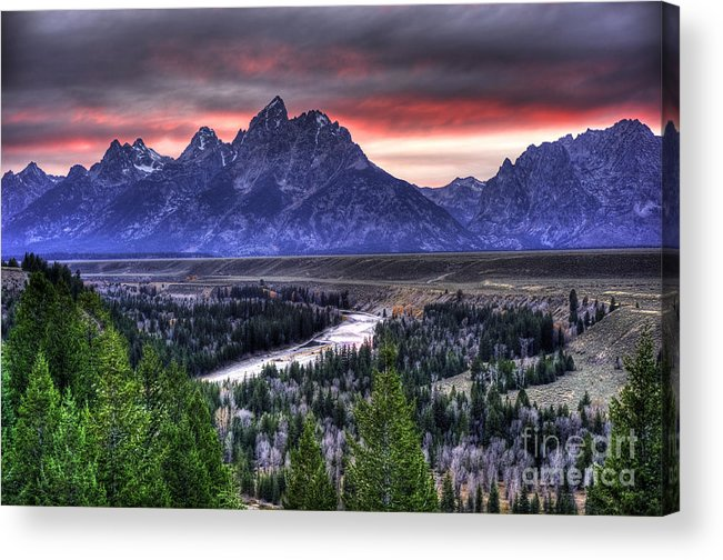 Places Acrylic Print featuring the photograph Grand Teton Sunset by Dennis Hammer