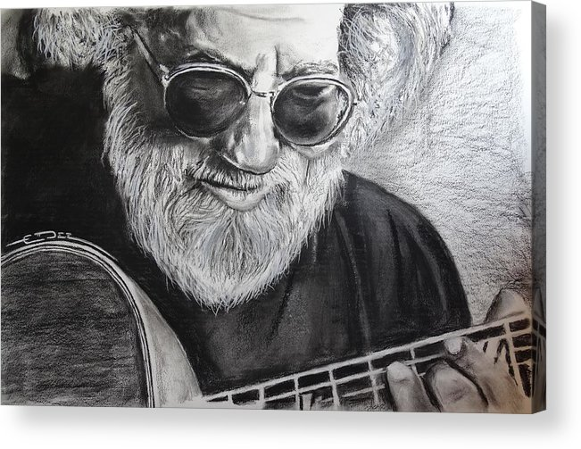 Jerry Garcia Acrylic Print featuring the drawing Grateful Dude by Eric Dee