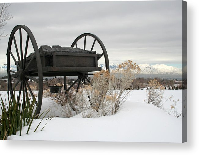 Handcart Acrylic Print featuring the photograph Handcart Monument by Margie Wildblood