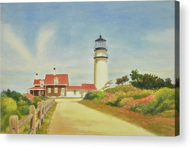 Lighthouse Acrylic Print featuring the painting Highland Lighthouse Cape Cod by Phyllis Tarlow