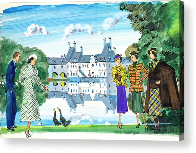 Fashion Acrylic Print featuring the digital art Illustration Of Man And Woman Feeding Ducks by Jean Pages