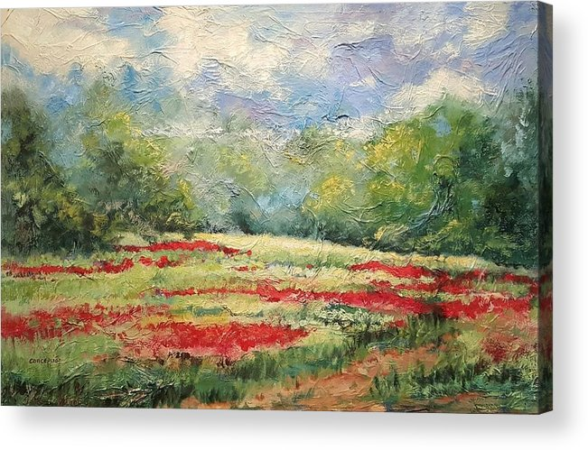 Clover Pastures Acrylic Print featuring the painting Into the Clover by Ginger Concepcion