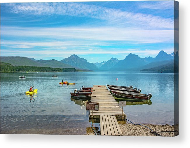Montana Acrylic Print featuring the photograph July 4th on Lake McDonald by Bryan Spellman