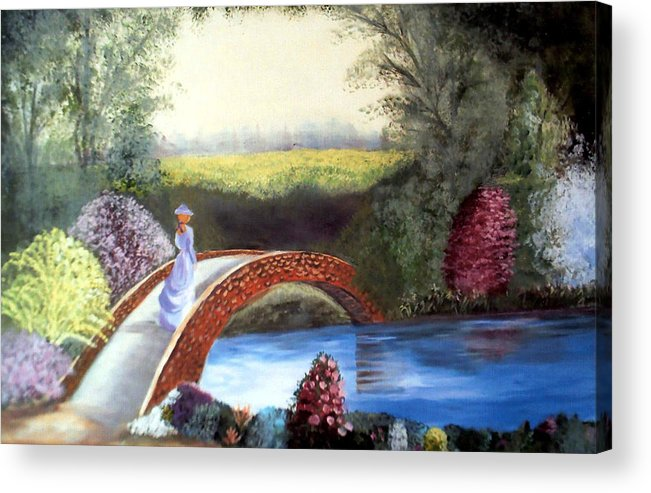 Landscape Acrylic Print featuring the painting Lady on the Bridge by Julie Lamons