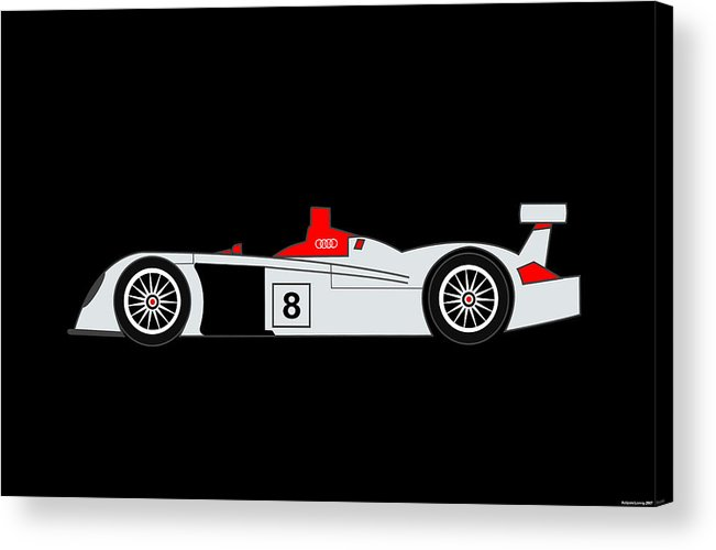 Audi Acrylic Print featuring the digital art Le Mans Audi R8 by Asbjorn Lonvig