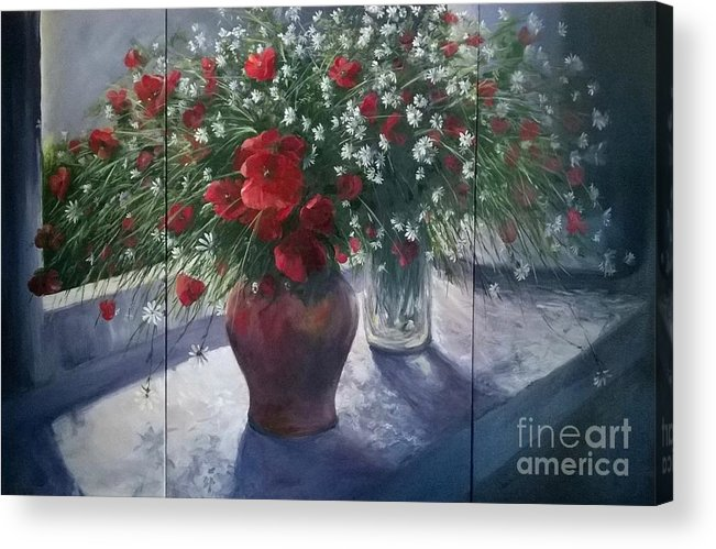 Remembrance Acrylic Print featuring the painting Lest we Forget...triptych by Lizzy Forrester