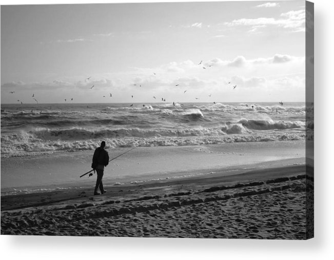 Sea Acrylic Print featuring the photograph Lone Fisherman by Linda C Johnson