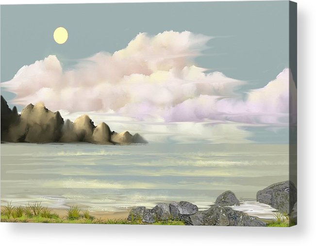 Seascape Acrylic Print featuring the digital art Lost Beach by Tony Rodriguez