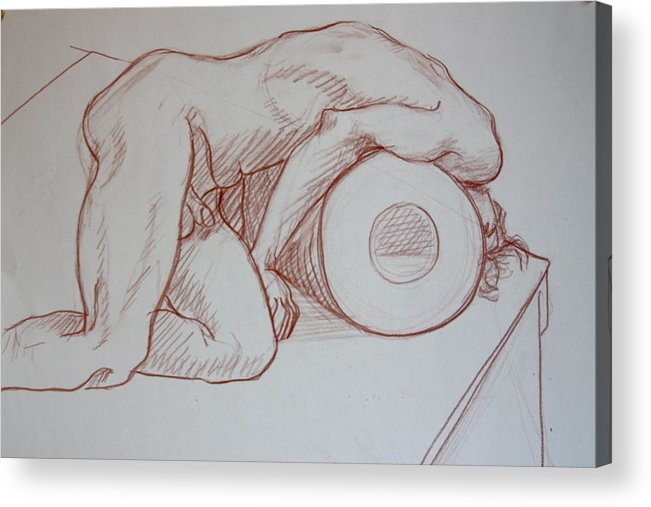 Male Nude Relief Acrylic Print featuring the painting Male On A Bolster by Dan Earle