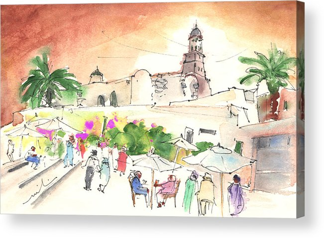 Travel Acrylic Print featuring the painting Market In Teguise In Lanzarote 02 by Miki De Goodaboom