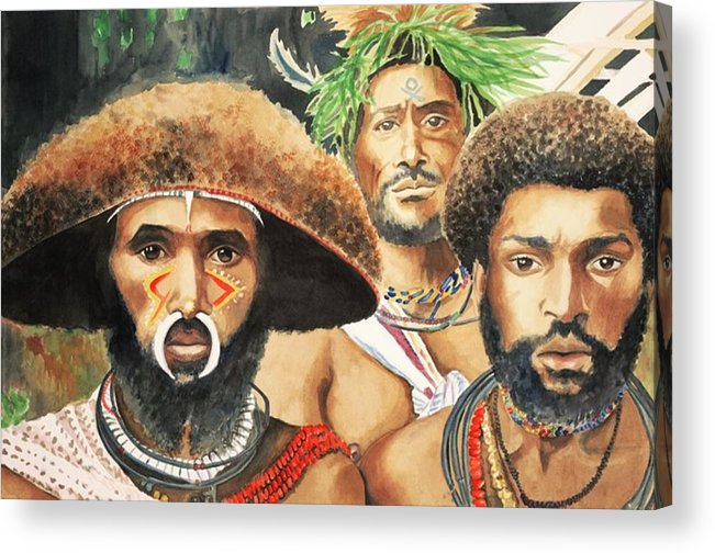 Men From New Guinea Acrylic Print featuring the painting Men from New Guinea by Judy Swerlick