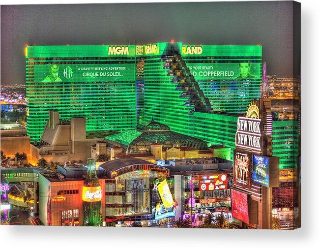 Mgm Grand Acrylic Print featuring the photograph MGM Grand Las Vegas by Nicholas Grunas