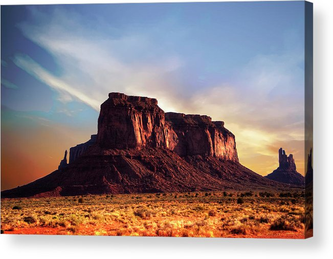 Monument Valley Acrylic Print featuring the photograph Monument Valley sunset by Roy Nierdieck