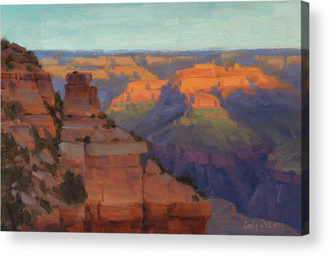 Grand Canyon Art Acrylic Print featuring the painting Morning Color - Yaki Point by Cody DeLong